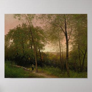 Hermann Herzog著日没の道に沿う歩行 ポスター