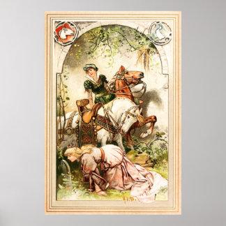 Hermann Vogel -ガチョウの女の子 ポスター