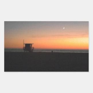 hermosaのビーチの日没 長方形シール