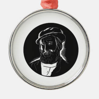 Hernan Cortesの征服者の木版画 メタルオーナメント