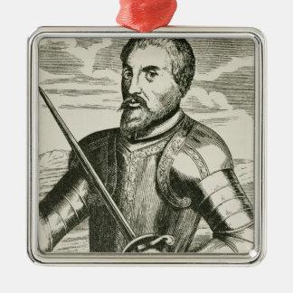 Hernando de Sotoのポートレート メタルオーナメント