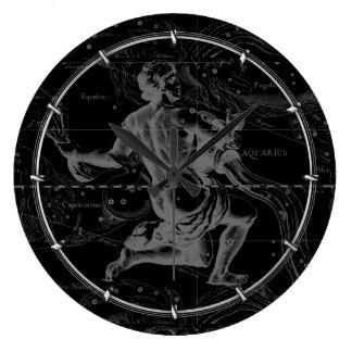 Hevelius著アクエリアスの印の星座の地図 ラージ壁時計