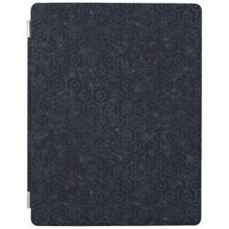 HEXAGON1黒い大理石及び青いグランジ iPadスマートカバー