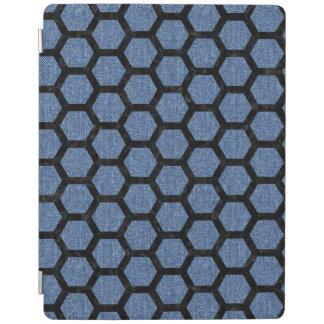 HEXAGON2黒い大理石及び青いデニム(R) iPadスマートカバー