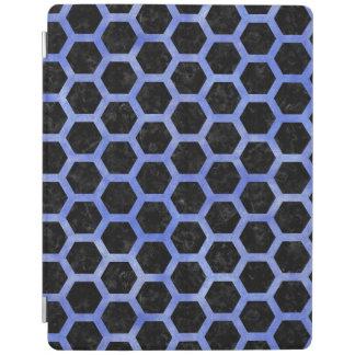 HEXAGON2黒い大理石及び青い水彩画 iPadスマートカバー