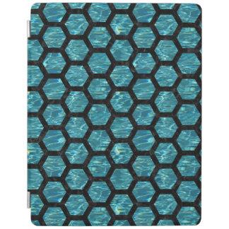 HEXAGON2黒い大理石及び青緑色水(R) iPadスマートカバー