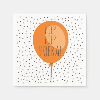 Hiep Hiep Hoeraのオレンジ気球のオランダの誕生日 スタンダードカクテルナプキン