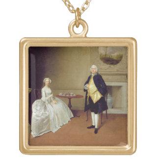 Hill、c.1750-51 (キャンバスの油)氏および夫人 ゴールドプレートネックレス