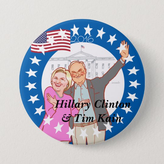 Hillary Clinton - Hillary,Tim Kain illustration 7.6cm 丸型バッジ