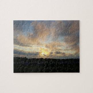 Hillendのキャンプ場の日没の写真のパズル ジグソーパズル