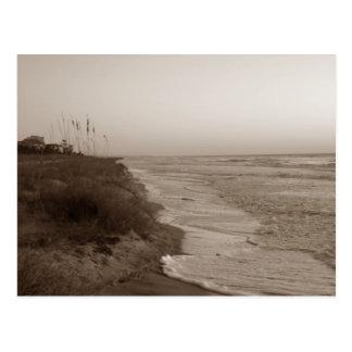 Hilton Head Islandの海岸線の郵便はがき/Sephia ポストカード