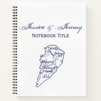 Hilton Head Island SCのヴィンテージの地図の濃紺 ノートブック
