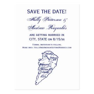 Hilton Head Island SCのヴィンテージの地図の濃紺 ポストカード