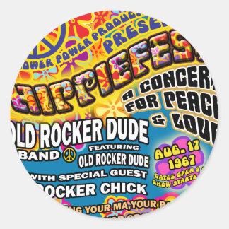 Hippiefestコンサートポスター ラウンドシール