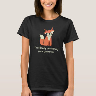 Hipster Fox  Grammar Black Tシャツ