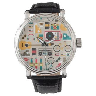 Hipsterrificのヒップスターの事パターン(Cinereous) 腕時計
