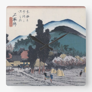 Hiroshigeの日本語Ukiyo-eによるIshiyakushi スクエア壁時計