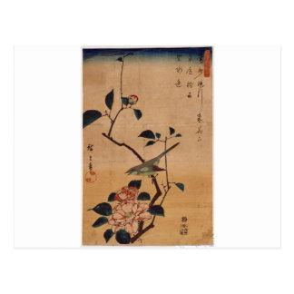 Hiroshige著ツバキそしてブッシュのアメリカムシクイ ポストカード