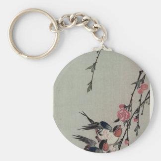 Hiroshige著月、つばめおよびモモの花 キーホルダー