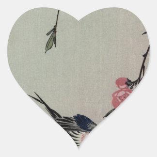 Hiroshige著月、つばめおよびモモの花 ハートシール