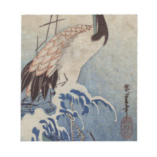 Hiroshige著波のクレーン ノートパッド