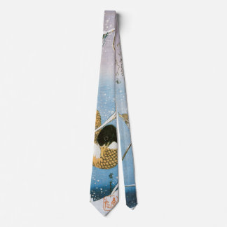 Hiroshige著野ガモの水泳の雪の荷を積んだリード ネクタイ