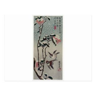 Hiroshige著雪のすずめそしてツバキ ポストカード