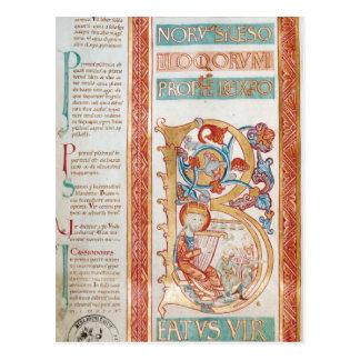 Historiatedは王を描写するデイヴィッド「B」に署名します ポストカード