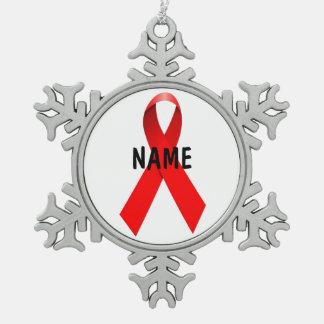HIVのエイズの記念の捧げ物のオーナメント スノーフレークピューターオーナメント