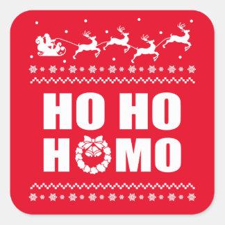 Ho Hoヒト属おもしろいなLGBTのクリスマスの醜いセーター スクエアシール