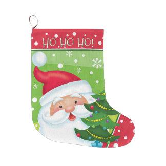 HO HO HOサンタおよび木のストッキング ラージクリスマスストッキング