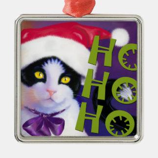 Ho Ho Hoスクエアサンタ猫。オーナメント メタルオーナメント