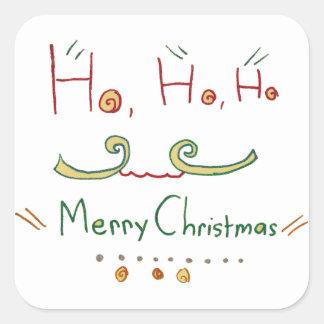 HO HO HOメリークリスマスのステッカー スクエアシール