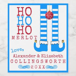 Ho Ho Hoメルローのおもしろいなクリスマスのワイン・ボトルのラベル ワインラベル