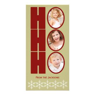 HO HO HO写真の休日カードタンおよび赤 カード