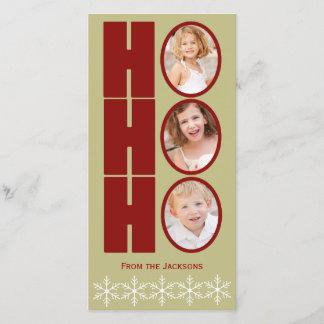 HO HO HO写真の休日カードタンおよび赤 クリスマスカード