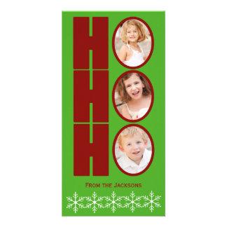 HO HO HO写真の休日カード緑および赤 カード