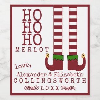 Ho Ho Ho名前入りなメルローのクリスマスのワインのラベル ワインラベル