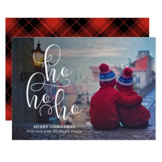 Ho Ho Ho白い上敷の休日の写真 カード