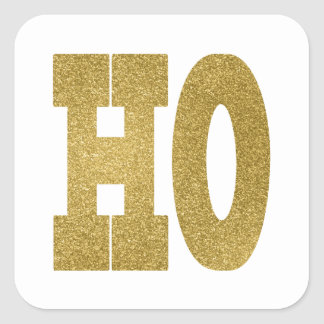 HO HO HO金ゴールドのステッカー スクエアシール