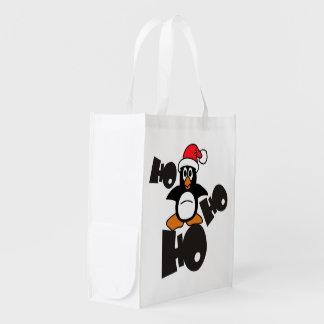 Ho Ho Ho -ペンギン-メリークリスマス + あなたのアイディア エコバッグ