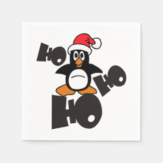 Ho Ho Ho -ペンギン-メリークリスマス + あなたのアイディア スタンダードカクテルナプキン