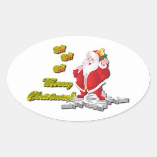 Ho! Ho! Ho! メリークリスマス 楕円形シール