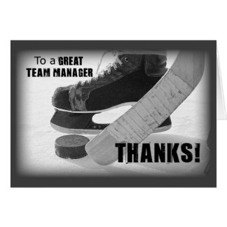 Hockey Manager Thanks, Skates, Stick and Puck カード