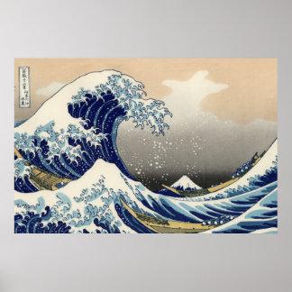 """Hokusaiのオリジナルc.1930の""""素晴らしい波""""のコピー プリント"""