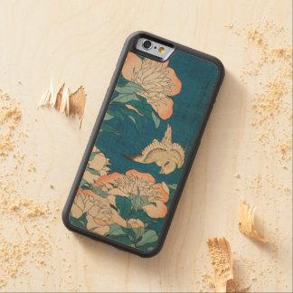 Hokusaiのシャクヤクおよびカナリア色のヴィンテージGalleryHD CarvedメープルiPhone 6バンパーケース