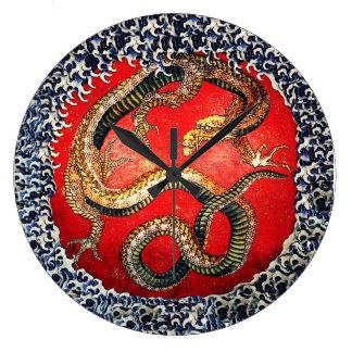 Hokusaiのドラゴンの日本のな芸術の柱時計 ラージ壁時計