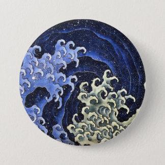 Hokusaiのフェミニンな波の日本のなヴィンテージのファインアート 缶バッジ
