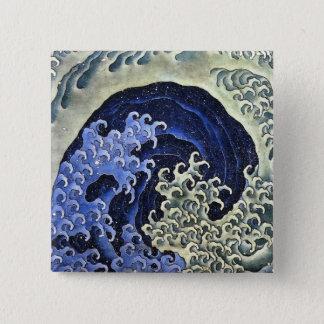 Hokusaiのフェミニンな波の日本のなヴィンテージのファインアート 5.1cm 正方形バッジ