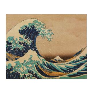 Hokusaiのヴィンテージの日本語による素晴らしい波 ウッドウォールアート
